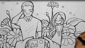 วาดรูปการ์ตูน, วาดการ์ตูนน่ารัก, cartoon , วาดสดๆ ผ่านกล้อง, wedding cartoon, prewedding,